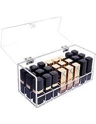 Lifewit Boîte de Rangement Cosmétique en Acrylique pour Rouge à Lèvres / Vernis à Ongles Organisateur Cosmétique avec Couvercle - 24 Espaces