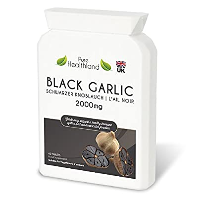 High Potency Odourless Black Garlic Supplement Tablets Equivalent To 2000 mg Fresh Garlic Bulb! Pure Rich Natural Antioxidant Support Immune System Heart High Blood Pressure Cholesterol Health. Food Supplement Suitable For Vegetarians and Vegans by Nova S
