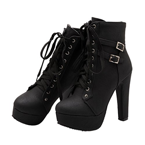 Xianshu Plataforma Tacón Alto Zapatos Cordones Buckle Tobillo Botas(Negro-38 EU)