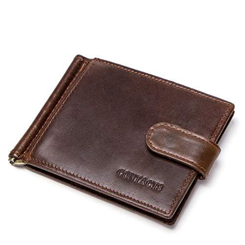 Yamyannie Herren Geldbörse Münzfach Schmaler Kreditkarteninhaber aus echtem Leder Front Pocket Wallet Money Clip Kreditkarten-Halter Geldbeutel Münzfach (Farbe : Kaffee)