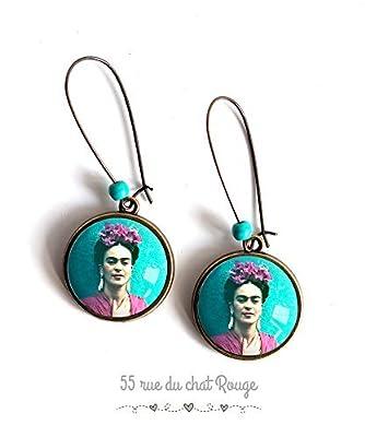 Boucles d'oreilles cabochon, Frida Kahlo, mexique, portrait femme, Turquoise et parme, bohême chic, boho, gypsy