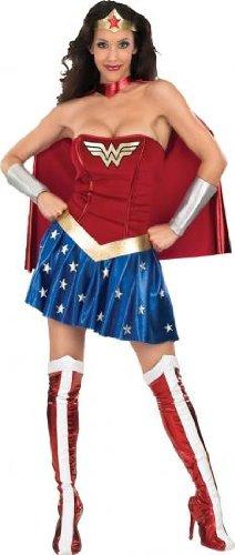 Wonder Woman Comic Kostüm, günstiges Komplettkostüm Damen, 5-teilig - M (Günstige Damen Kostüme)