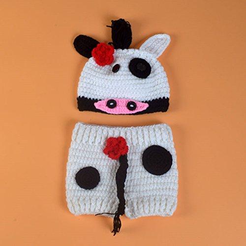 ENCOCO - Costume da Mucca per Neonati, Realizzato a Mano all'Uncinetto, per Foto