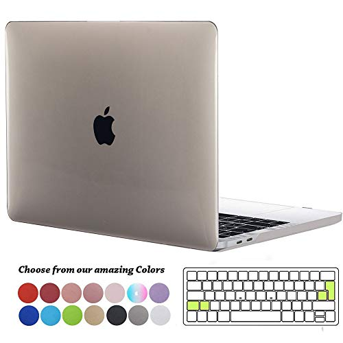 TECOOL MacBook Pro 15 Hülle 2019/2018/2017/2016 Case, Plastik Hartschale Schutzhülle mit Transparent EU Tastaturschutz für Apple MacBook Pro 15 Zoll mit Touch Bar Modell: A1990/ A1707 -KristallGrau - Klar 15 Case Pro Das Macbook Retina