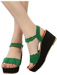 c8fc0505341 Amazon.es  Zapatos Tacon Ancho - Verde   Sandalias de vestir ...