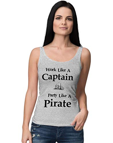 Work Like A Captain Party Like A Pirate Slogan Damen Tank Top L -