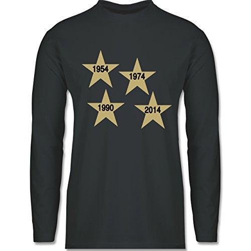 Fußball - Weltmeister 2014 Der vierte Stern - Longsleeve / langärmeliges T-Shirt für Herren Anthrazit