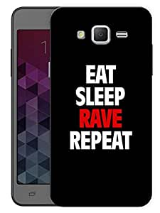 """Humor Gang Eat Sleep Rave Repeat Printed Designer Mobile Back Cover For """"Samsung Galaxy j2"""" (3D, Matte Finish, Premium Quality, Protective Snap On Slim Hard Phone Case, Multi Color)"""