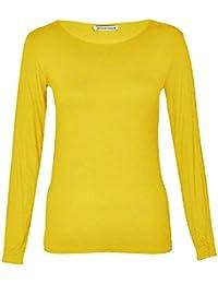 Janisramone Mujeres Señoras Redondo Cuello Largo Manga Llanura Casual Stretchy Tee Básico slim en forma Camiseta