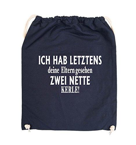 Comedy Bags - Ich hab letztens deine Eltern gesehen zwei nette Kerle! - Turnbeutel - 37x46cm - Farbe: Schwarz / Silber Navy / Weiss