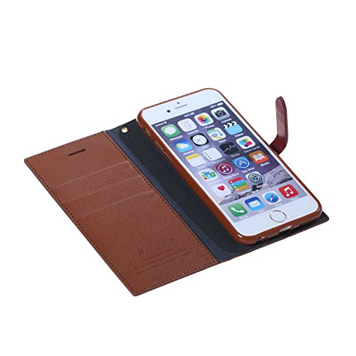 Coque iPhone 6S,Coque iPhone 6, MSK® Housse Etui Cuir Portefeuille Pour iPhone 6S/iPhone 6 Case Folio Portefeuille Protection Cover - Brun Brun