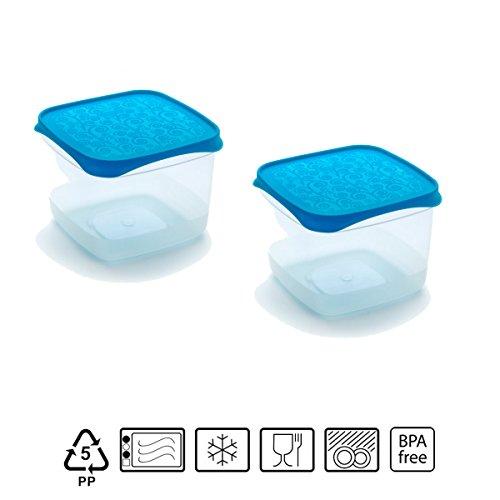 Set de 2 Coupelles hermeticos carrés avec couvercle bleu de 0,6 l - BPA Free.