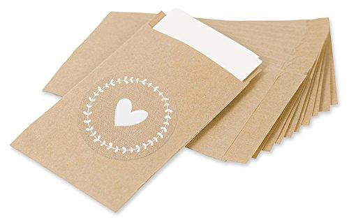 Freudentränen Geschenktüten & Sticker | vintage Aufkleber und Mini Papiertüten | Geschenk-Verpackung für Hochzeit Taschentücher | schöne Flachbeutel | Mitgebsel | Schmuck | umweltfreundlich | Original Design von KuschelICH (50 Stk., Herz) - 3