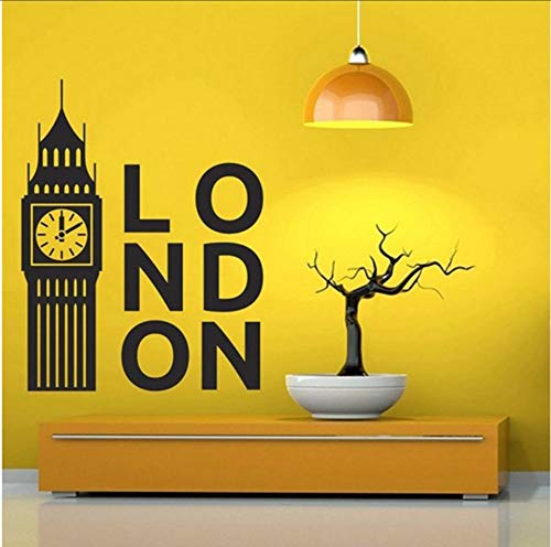 (Lsfhb Großbritannien London Clock Aufkleber Schlafzimmer Dekoration Kunst Poster Big Ben Vinyl Wandaufkleber Wohnkultur Wohnzimmer Aufkleber 42X45 Cm)
