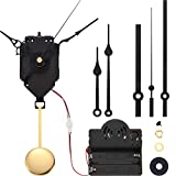 Hicarer Movimiento de Reloj de Gatillo de Péndulo de Cuarzo Kit de Reloj de Péndulo Completar Caja de Música Chime con 3 Pares de Agujas de Reloj Espadas, Rectas