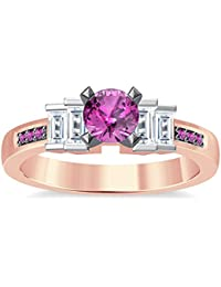 Silvernshine 1.35Ct Round & Buget Cut Pink Sapphire Sim Dimoands 14K Rose Gold PL Engagement Ring