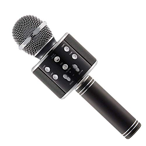higadget Wireless WS-858 Bluetooth Microphone Recording Condenser Handheld Microphone Stand With Bluetooth Speaker Audio Recording For Cellphone Karaoke Mike (Colour may vary)