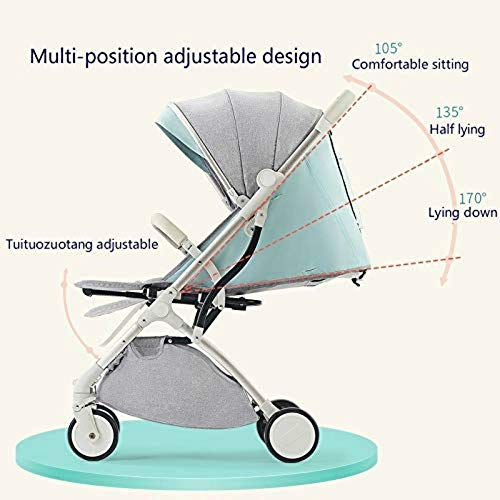 Lightweight Stroller,Compact Travel Buggy,One Hand Foldable,Five-Point Harness,Great for Airplane (Blue)