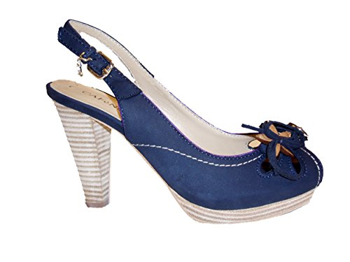Cafe Noir Damen Sling Sandalen Wildleder TH346 blau Blau