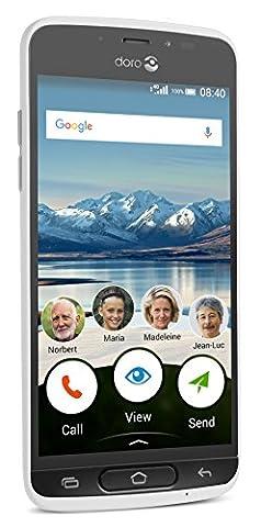 Doro 8040 Smartphone débloqué 4G (Ecran : 5 pouces - 16 Go - Nano Sim - Android 7.0) Blanc
