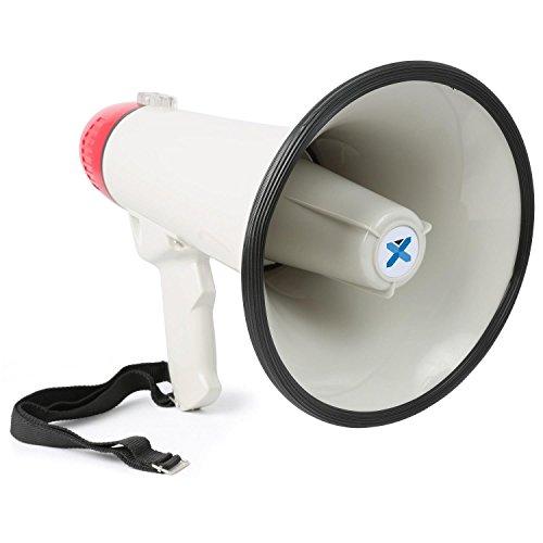 Vexus MEG045 Megafon 40W Megaphone mit Sirene und Aufnahmefunktion mit Sirene und Aufnahmefunktion (MP3-fähiger USB-Slot und SD-Kartenslot, AUX Batterie-Betrieb, Trage-Gurt) rot-weiß