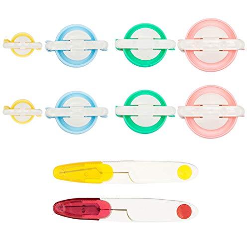 Tebery 8 Pcs 4 Größen Pom Pom Maker Mit 2Pcs Fadenabschneider Pompon Set Fluff Kugel-Weber-Nadel Craft Tool Kit für Mützen Schals Kleidung Strickmütze Basteln - Kit Pom-pom Maker