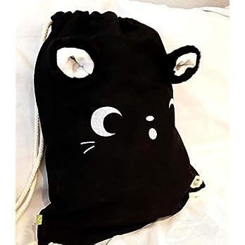 Flausch-Tausch- Katzenrucksack – Turnbeutel mit flauschigen Katzenohren zum Selbsttragen – Plüschohren