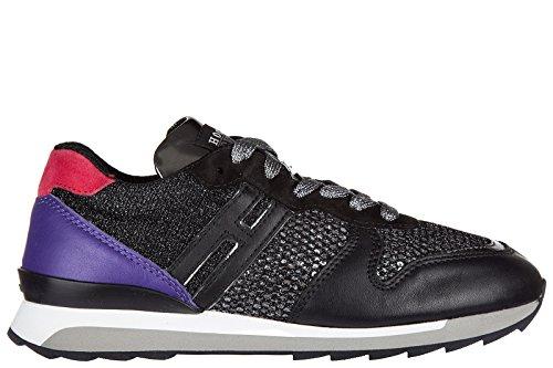 Hogan Rebel Damenschuhe Turnschuhe Damen Leder Schuhe Sneakers r261 allacciato S Schwarz