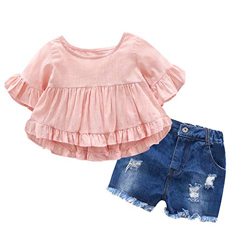 Gyratedream Baby Girls Clothing Set for 1-7 Years,Summer Baby Girl Cotton Solid Butterfly Sleeve Blouse T-Shirt Casual Denim Shorts Outfits Set -