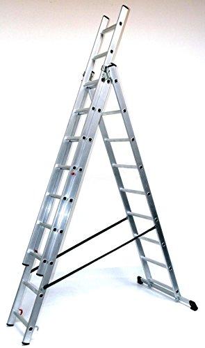 Alu-Schiebeleiter 3x9 Stufen/Sprossen, Arbeitshöhe: 6,3m, 248x41x17, Aluminium, Marke: Szagato (Mehrzweckleiter/Stehleiter, Anlegeleiter, Aluleiter, Kombileiter, Leiter)