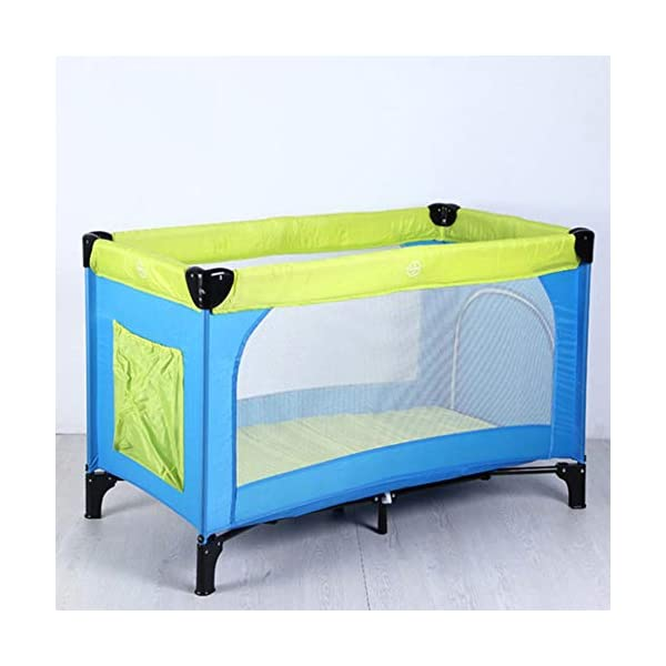 Mr.LQ Multifunctional Crib, Portable Folding Baby Playpen, Bearing Weight 60kg / 125 * 65 * 76cm,Beige,125x65x75cm  ✔[Durable high-quality materials] steel frame, high quality Oxford and PP plastic provide a solid and stable structure for your child's safe sleep. Padded top rail for added safety when used. Also included is a folding pad base. The fabric can be easily wiped clean and kept dry. ✔ [Transparent Safety Net] Use mesh cloth on both sides. This mesh area allows the baby to see clearly and the bystander can see her/him and provide good ventilation for the baby. ✔ [Easy to move] It is designed with two wheels and two legs, you can easily move it with the help of two wheels, and you don't have to worry about stability due to two solid legs. 4