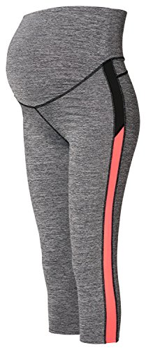 Noppies Damen Umstands Sporthose Legging OTB 3/4 Fenna, Grau (Grey Melange C246), 44 (Herstellergröße: XL/XX-Large)