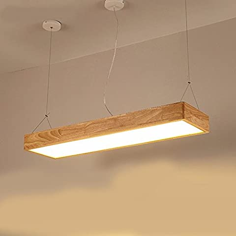XHOPOS HOME Decke Pendelleuchten Holz LED 60X20 CM 18 W dimmbar Deckenleuchte Wohnzimmer Schlafzimmer Korridor