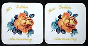 "50th Golden Anniversary -gift ""His"" & ""Hers"" Pair of Coasters"