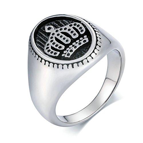 Amody 20MM Edelstahl Herren Schmuck Biker Cool Ring Kronenform oval Silber Gothic Rings Knuckle Größe 65 (20.7) - Für Silber Knuckle Oben Ringe