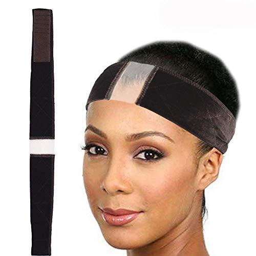 Banda de encaje para peluca, de terciopelo, cómoda, para pelucas de encaje y parte frontal, banda de velcro, banda ajustable
