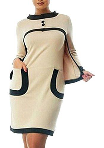 Bigood Robe Femme Faux Deux-pièces Col Rond Manches Longues Mode Multicolore