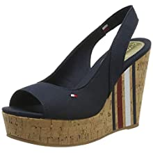 Tommy Hilfiger Sling Back Wedge Sandal Stripes, Plateau Donna, Blu (Midnight 403), 40 EU