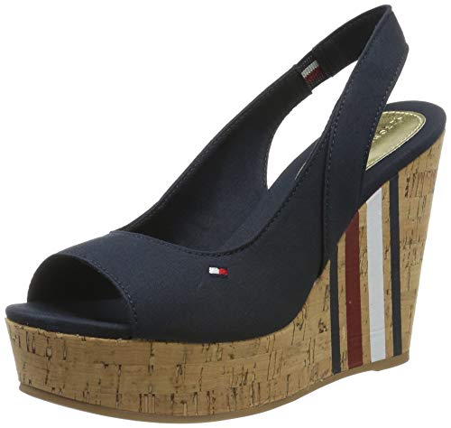 Tommy Hilfiger Damen Sling Back Wedge Sandal Stripes Plateausandalen, Blau (Midnight 403), 37 EU