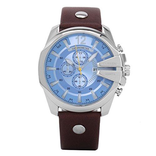 XLORDX Curren XXL Herren Armbanduhr Chronograph Datum Silber Edelstahl Leder Braun Quarz Analog Sportuhr Blau