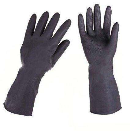 wuzmei freischutzhandschuhe de nettoyage à laver Gants en latex réutilisable avec certificat de la FDA pour cuisine Finishing chemurgie Noir L 1 Paire