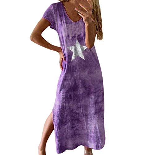 TEFIIR T-Shirt für Damen, Oktoberfest, Leistungsverhältnis Lose Beiläufige Druck V-Ausschnitt Star Split Lady Baumwolle Slit Up Maxi Kleid Geeignet für Freizeit, Dating, - Kleid Ups Piraten Kostüm