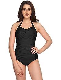 Nidhi Munim Black Halter Cross Rouching Swimsuit For Women
