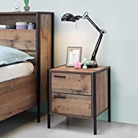 Timber Art Design Stretton Urban Bedside Lamp Table with 2 Drawers Rustic Industrial Oak Effect