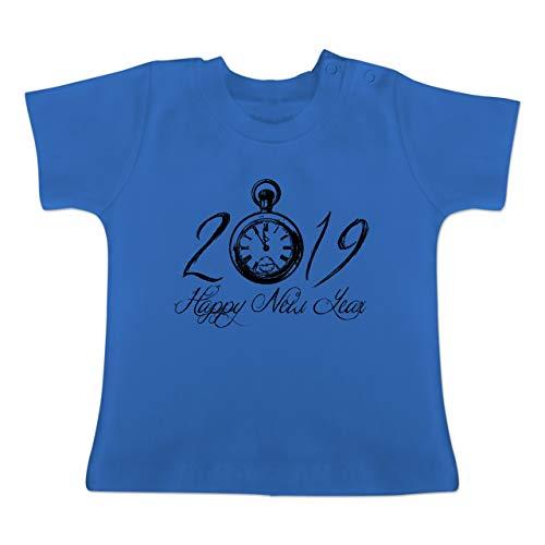 Weihnachten Baby - Happy New Year 2019 Uhr Vintage - 1-3 Monate - Royalblau - BZ02 - Baby T-Shirt Kurzarm