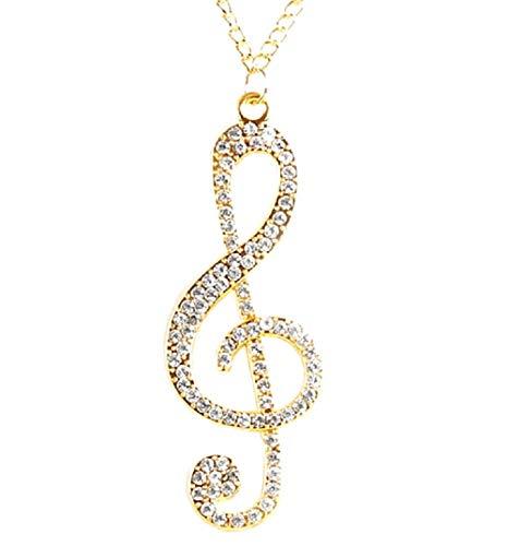 Halskette Violinschlüssel - Musikanteil - Zirkonia - Damen - Herren - Unisex gold (Violinschlüssel Halskette Gold)
