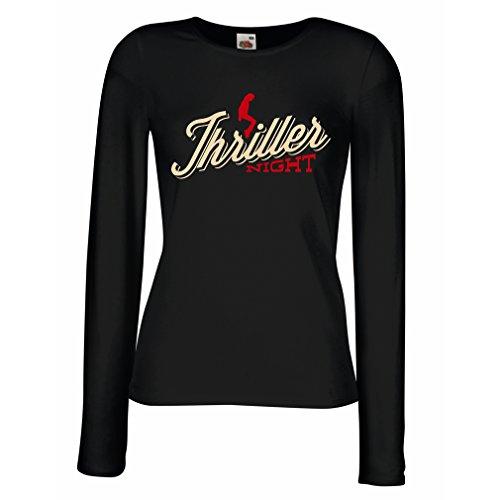 lepni.me Weibliche Langen Ärmeln T-Shirt The Thriller Night Dance 80er Jahre 90er Jahre MJ König der Popmusik (Medium Schwarz Mehrfarben) (Halloween-filme Besten 80er Der Die Jahre)
