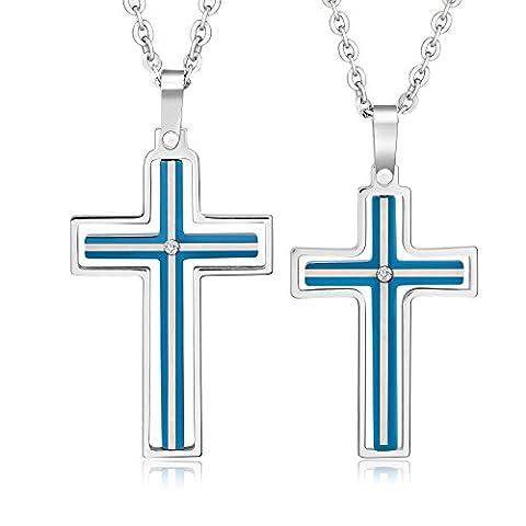 Gnzoe Schmuck Damen Halskette Edelstahl Hohl Kreuz Kruzifix Blau Partneranhänger mit Zirkonia (Amethyst Sterling Silber Kruzifix)