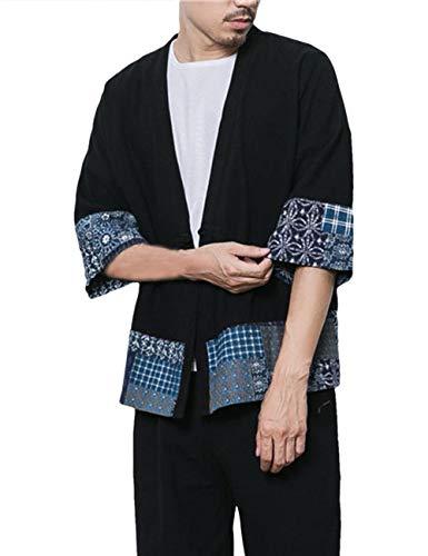besbomig Herren Vintage Baumwolle Leinen Poncho Cape Mantel Japan Strickjacke Happi Kimono Haori Jacke -