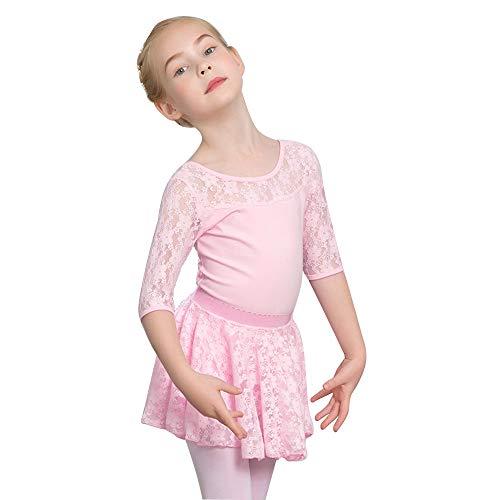 (Mangotree Kinder Mädchen Netzeinsatz Balletttanz Kurzarm Ballett Tanzbekleidung Gymnastik Kostüme)